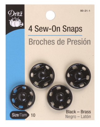 Sew-On Snaps Black (7 sizes)