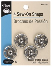 Sew-On Snaps Silver (8 sizes)